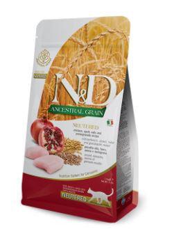 Farmina N&D AG Adult Cat Chicken & Pomegranate Neutered сухой низкозерновой корм для стерилизованных кошек и кастрированных котов Спельта/Овес/Курица/Гранат 1,5кг