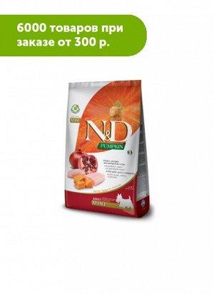 Farmina N&D Grain Free Pumpkin сухой беззерновой корм для собак мелких пород Курица/Гранат/Тыква 800гр
