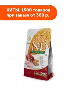 Farmina N&D Cat AG Adult Cat Chicken & Pomegranate Neutered сухой низкозерновой корм для стерилизованных кошек и кастрированных котов Спельта/Овес/Курица/Гранат 300г