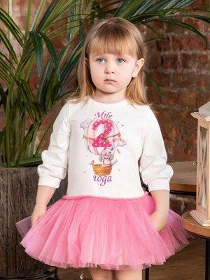 """Платье с принтом """"Мне 2 года"""" (Слоненок на шаре) длинный рукав"""