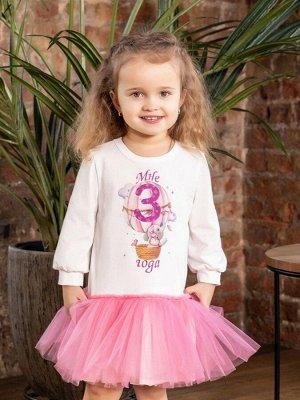"""Платье с принтом """"Мне 3 года"""" (Слоненок на шаре) длинный рукав"""