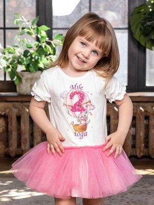 """Платье с принтом """"Мне 2 года"""" (Слоненок на шаре) короткий рукав"""
