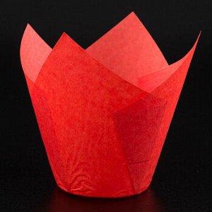 Форма-тюльпан для выпечки красная 80*50, 20 шт
