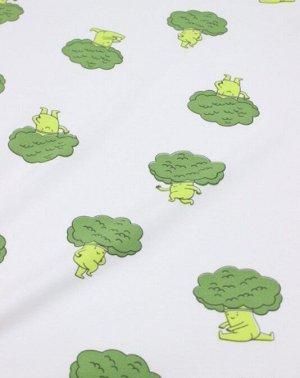 "Трикотаж Интерлок ""Веселые брокколи"", ш.1.72м (0.86м*2 чулок), Пенье, хл-100%,170г/м.кв"