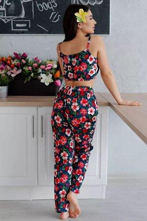 Пижама топ с брюками ПЖ 023 (Цветы на синем)