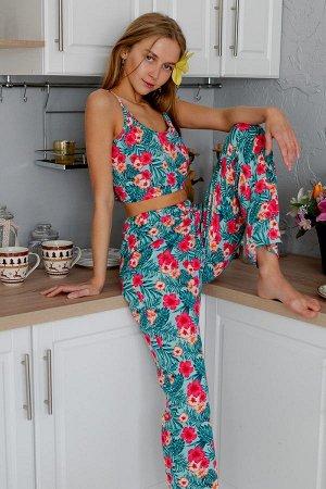 Пижама топ с брюками ПЖ 023 (Цветы на ментоле)