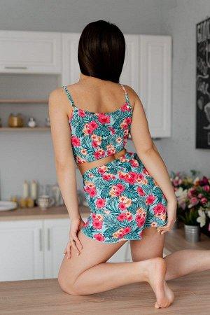 Пижама топ с шортами ПЖ 024 (Цветы на ментоле)