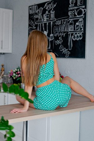 Пижама топ с шортами ПЖ 024 (Горох на зеленом)