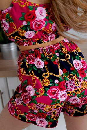 Пижама топ с шортами ПЖ 024 (Малина)