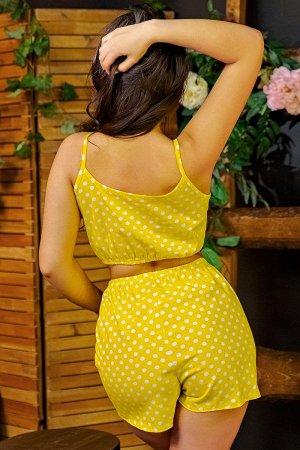 Пижама топ с шортами ПЖ 024 (Горох на желтом)