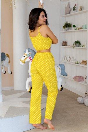 Пижама топ с брюками ПЖ 023 (Горох на желтом)