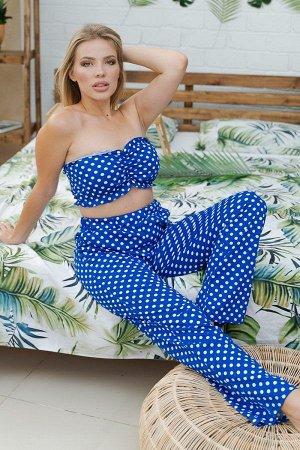 Пижама с брюками ПЖ 015 (Горошек на синем)