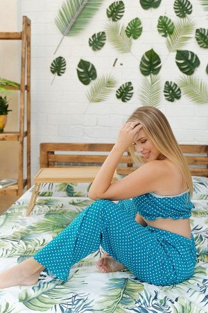 Пижама с брюками ПЖ 015 (Горошек на зеленом)