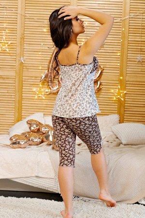 Пижама майка с бриджами ПЖ 028 (Шоколадные огурцы)