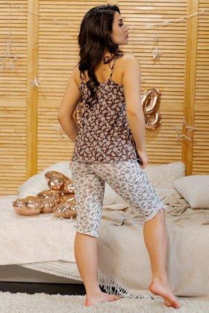 Пижама майка с бриджами ПЖ 028 (Светлые огурцы)