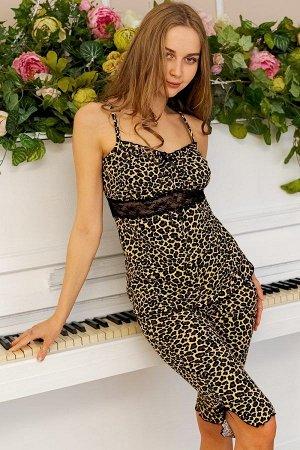 Пижама майка с бриджами ПЖ 028 (Леопард)