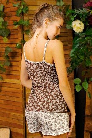 Пижама майка с шортами ПЖ 027 (Светлые огурцы)
