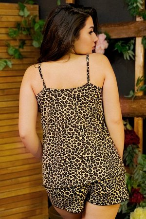 Пижама майка с шортами ПЖ 027 (Леопард)