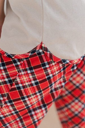 Пижама с брюками ПЖ 020 (Веселый олень/Красная клетка)