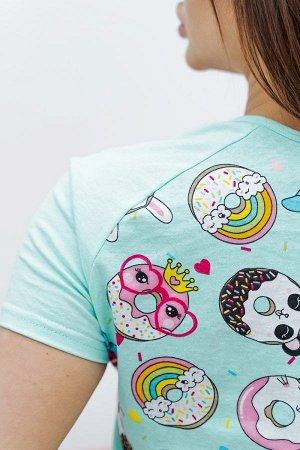 Пижама с шортами ПЖ 025 (Пончики)