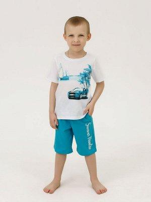 Костюм Цвет: белый; Состав: Хлопок 100 %; Материал: Кулирка Костюм выполнен из мягкого хлопкового материала и состоит из футболки с коротким рукавом и шорт с карманами. Данная модель отличается свобод