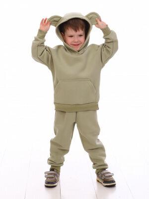 Костюм Цвет: зеленый; Состав: 80%хлопок, 20%п/э; Материал: футер трехнитка с начесом Отличный и удобный костюм из 3-х нитки для самых маленьких. Ушки на капюшоне толстовки умиляют и влюбляют в себя. Б