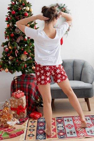 Пижама с шортами ПЖ 018 (Ёлки)