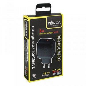 С FORZA Зарядное устройство USB Модерн, 2USB, 3А, Быстрая зарядка QC3.0+TYPE-C PD, 110-240 В, пластик