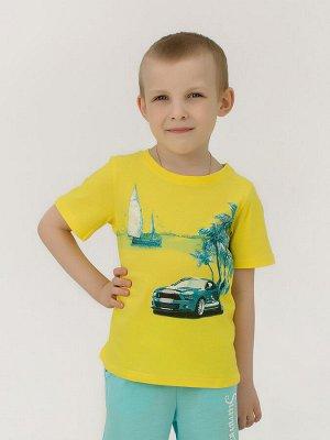 Костюм Цвет: жёлтый; Состав: Хлопок 100 %; Материал: Кулирка Костюм выполнен из мягкого хлопкового материала и состоит из футболки с коротким рукавом и шорт с карманами. Данная модель отличается свобо