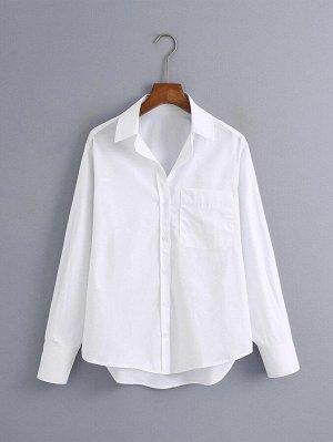 Белый Одноцветный Повседневный Блузы