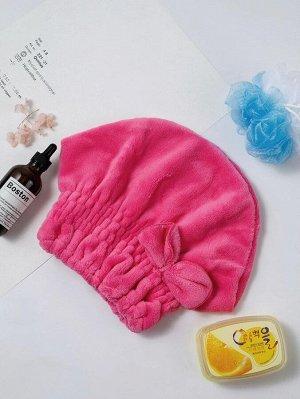 Шапка для сушки волос ярко-розовый Полотенца