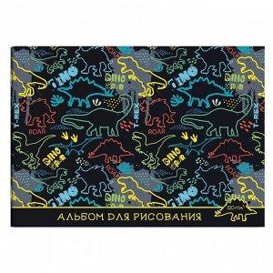 Альбом для рисования А4 285х200 мм, 12 л, блок - белый офсет 100 г/м2, арт. 57206 ДИНОЗАВРЫ /обложка полноцветная печать, мягкий переплёт (2 скобы), сплошной УФ-лак/