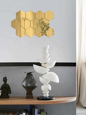 Наклейка на стену с шестигранной зеркальной поверхностью 10шт