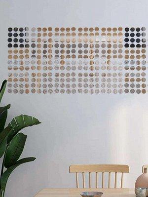 50шт круглая наклейка на стену с зеркальной поверхностью
