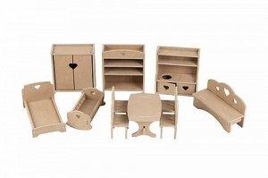 Комплект мебели для кукол до 15 см (без окрашивания)