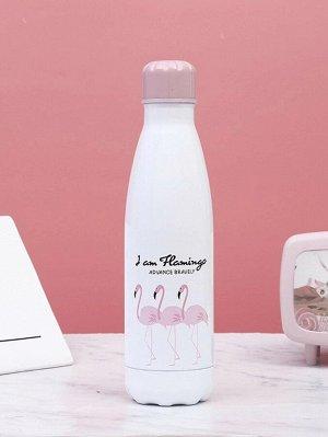 Стакан-термос с принтом 'фламинго'