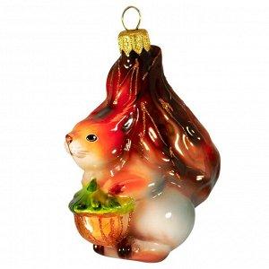 Елочная игрушка из стекла Белка с золотым орешком