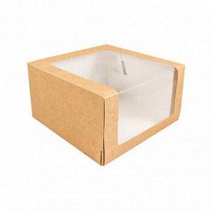 Коробка крафт с окном 18*18*10 см