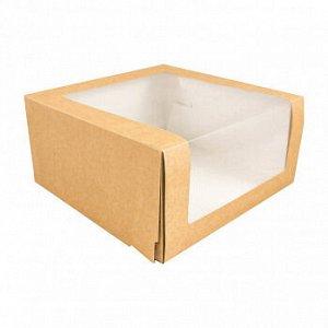 Коробка Крафт с окном 22*22*11 см