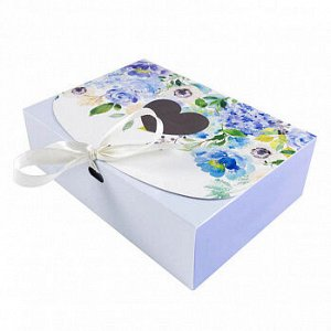 """Коробка для сладостей """"Цветочная голубая"""" с лентой, 16*11*5 см"""