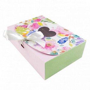 """Коробка для сладостей """"Цветочная розовая"""" с лентой, 16*11*5 см"""