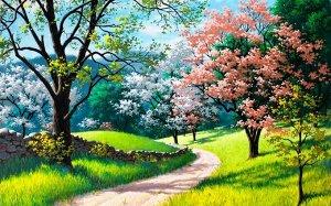 Алмазная живопись - мозаика Цветущая тропа