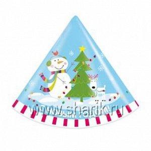 Колпак бумага снеговик Веселый набор 8 шт