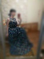 Платье черное длины макси с вышивкой
