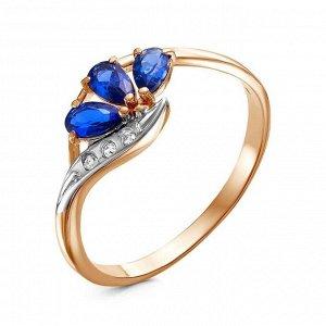 """Кольцо """"Клевер"""", позолота, цвет бело-синий, 18 размер"""