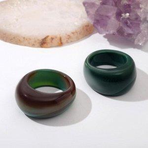 "Кольцо литое, гранёное ""Агат зелёный"", 17 размер"