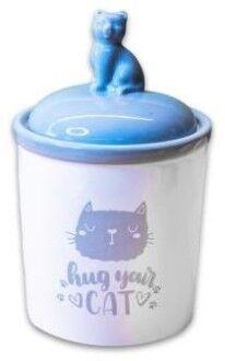 КерамикАрт бокс керамический для хранения корма Hug your cat 1650мл, бело-серая