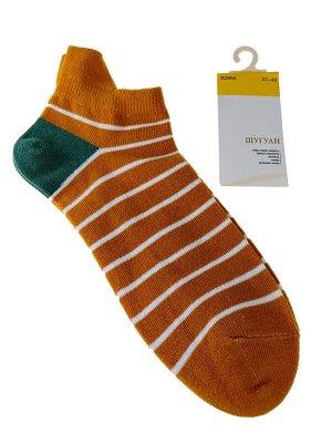 Женские носки в полоску с высокой пяткой, цвет жёлто-оранжевый