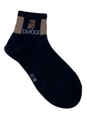 Женские носки с резинкой и принтом, цвет чёрный