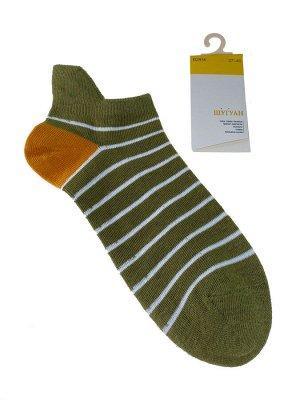 Женские носки в полоску с высокой пяткой, цвет зелёный
